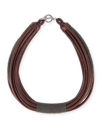 Monili Tube Leather Multi-Strap Choker