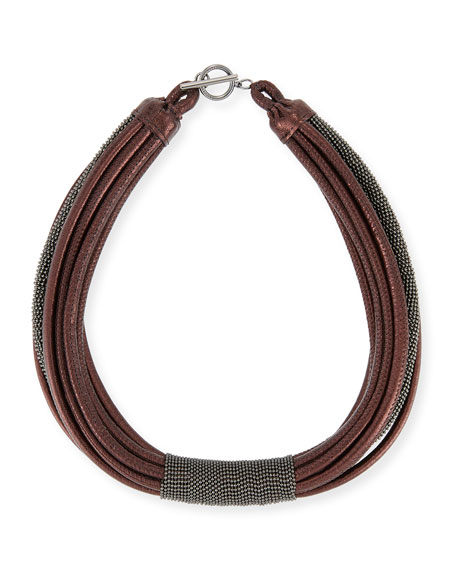 Monili Tube Leather Multi-Strap Choker