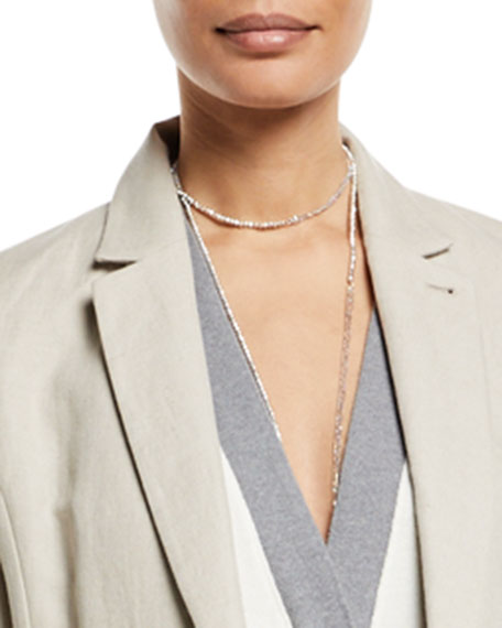 Silver Variegated Single Strand Lariat Necklace