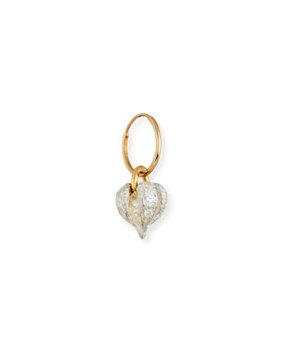 Lotus Heart Drop Single Earring with Stones
