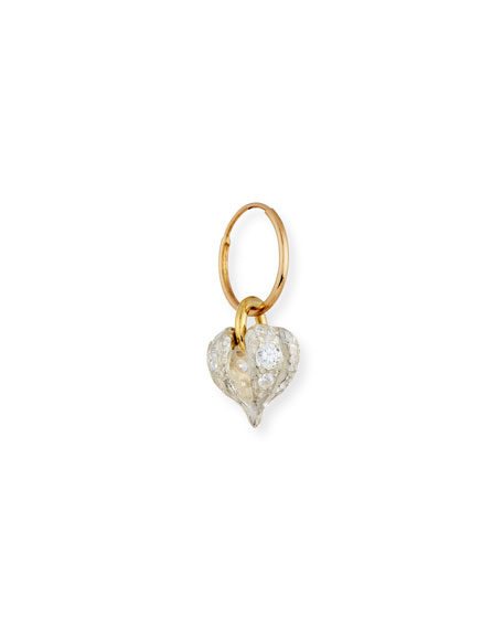 Lotus Heart Drop Single Earring with Stones