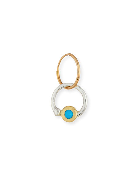 Two-Ton Double Hoop Single Earring with Turquoise