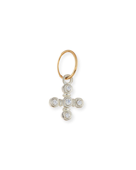 Orchid Cross Single Earring with Stones
