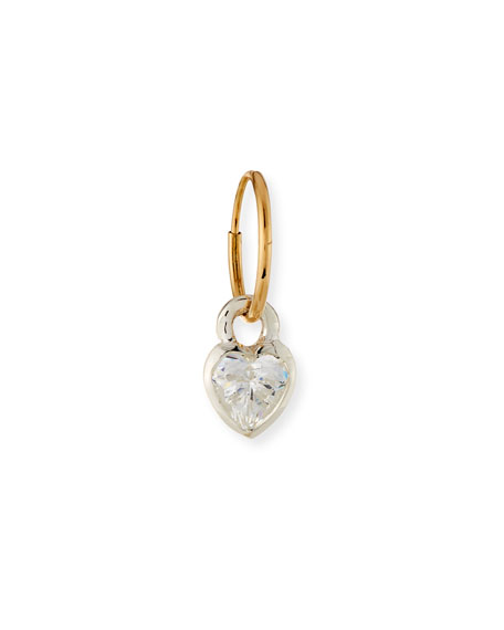Bezel Heart Single Earring with Cubic Zirconia