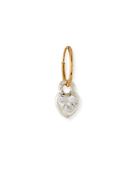 Bezel Heart Single Earring with Crystal
