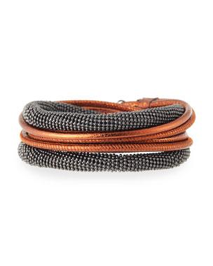 8f3157dee23 Brunello Cucinelli Leather   Monili Wrap Necklace