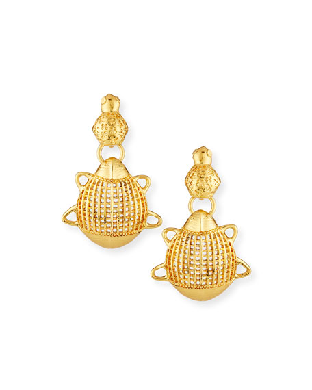 Oscar de la Renta Small Scarab Clip-On Earrings