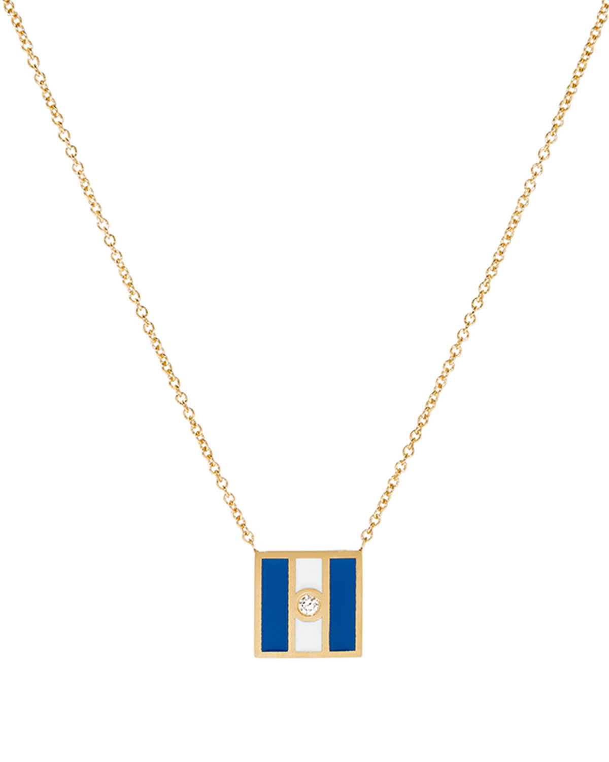 K Kane Code Flag Square Diamond Pendant Necklace - J