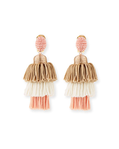 Long Tiered Silk Tassel Clip-On Earrings, Pink