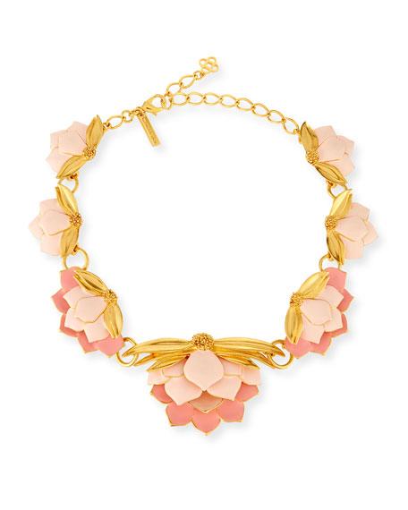 Oscar de la Renta Painted Wild Lotus Necklace
