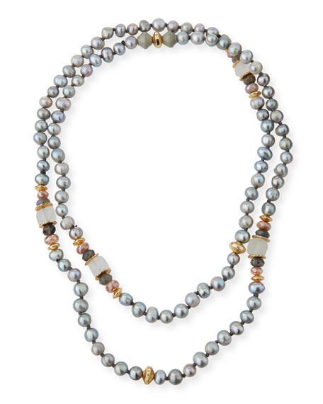 Akola Long Beaded Pearly Necklace