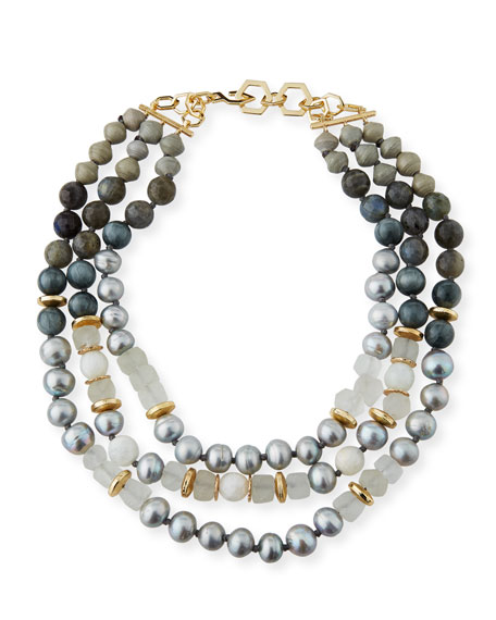 Akola Three-Strand Pearly Beaded Necklace