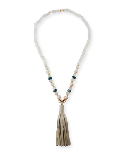 Green Apatite & Pearly Bead Necklace  36
