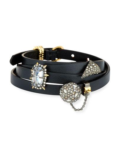 Multi-Wrap Leather Charm Bracelet, Black