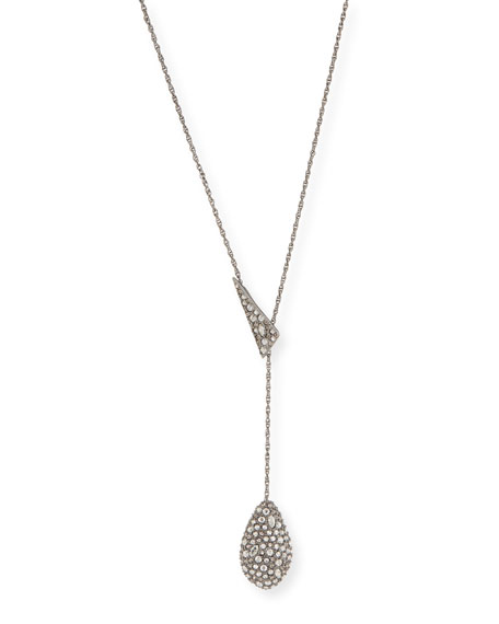 Pave Teardrop Lariat Pendant Necklace
