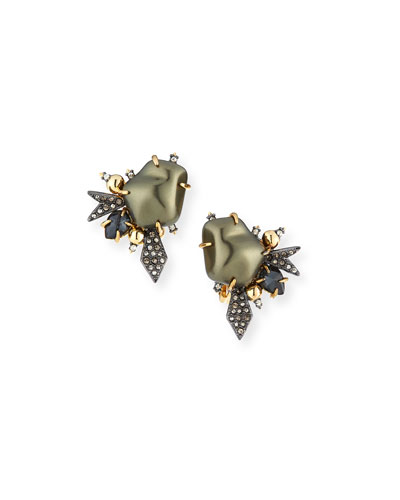 Baroque Pearlescent Burst Clip Earrings