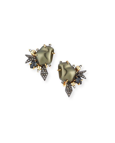 Alexis Bittar Baroque Pearlescent Burst Clip Earrings