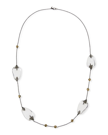 Long Beaded Crystal & Pyrite Necklace