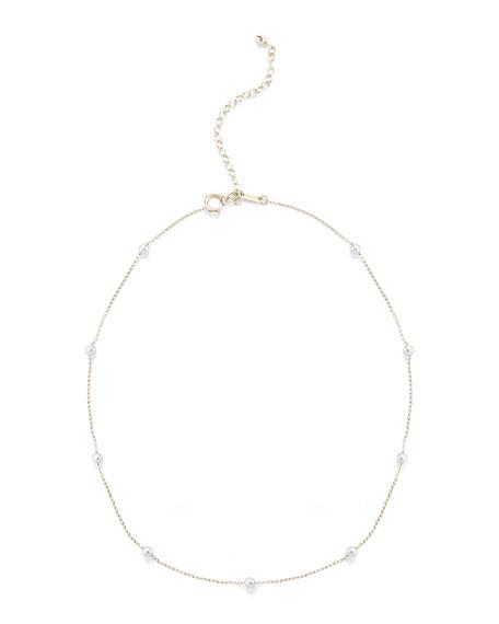 Mizuki Pearl Station Chain Choker Necklace