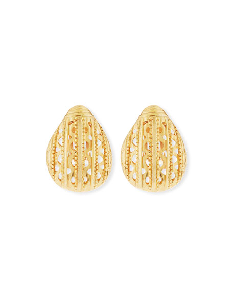 Scarab Button Clip-On Earrings