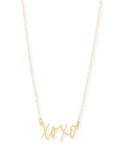 BREVITY Xoxo Small Pendant Necklace in Gold