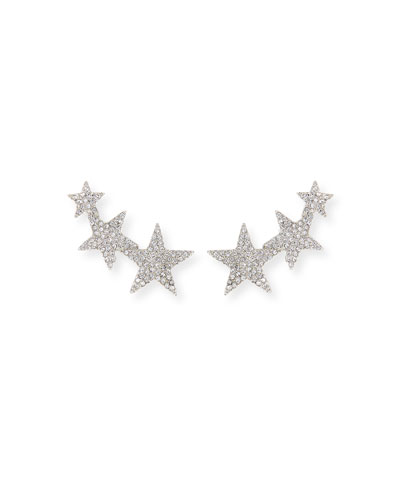 Crystal Star Climber Clip-On Earrings