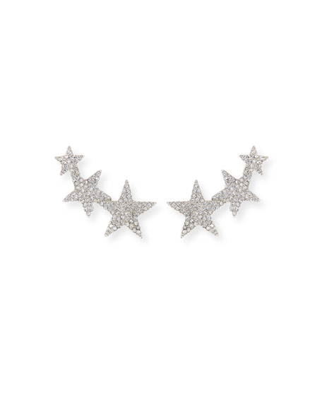 CRYSTAL STAR CLIMBER CLIP-ON EARRINGS