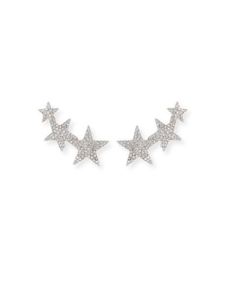 Kenneth Jay Lane Crystal Star Climber Clip-On Earrings