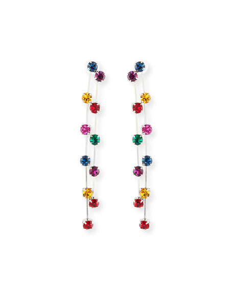 Two-Row Crystal Drop Earrings, Dark/Multi