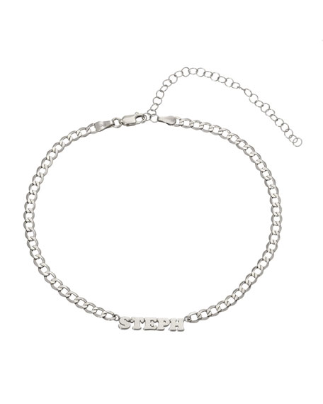Zoe Lev Jewelry Personalized Cuban Link Choker Necklace with Name Plate in 14K White Gold