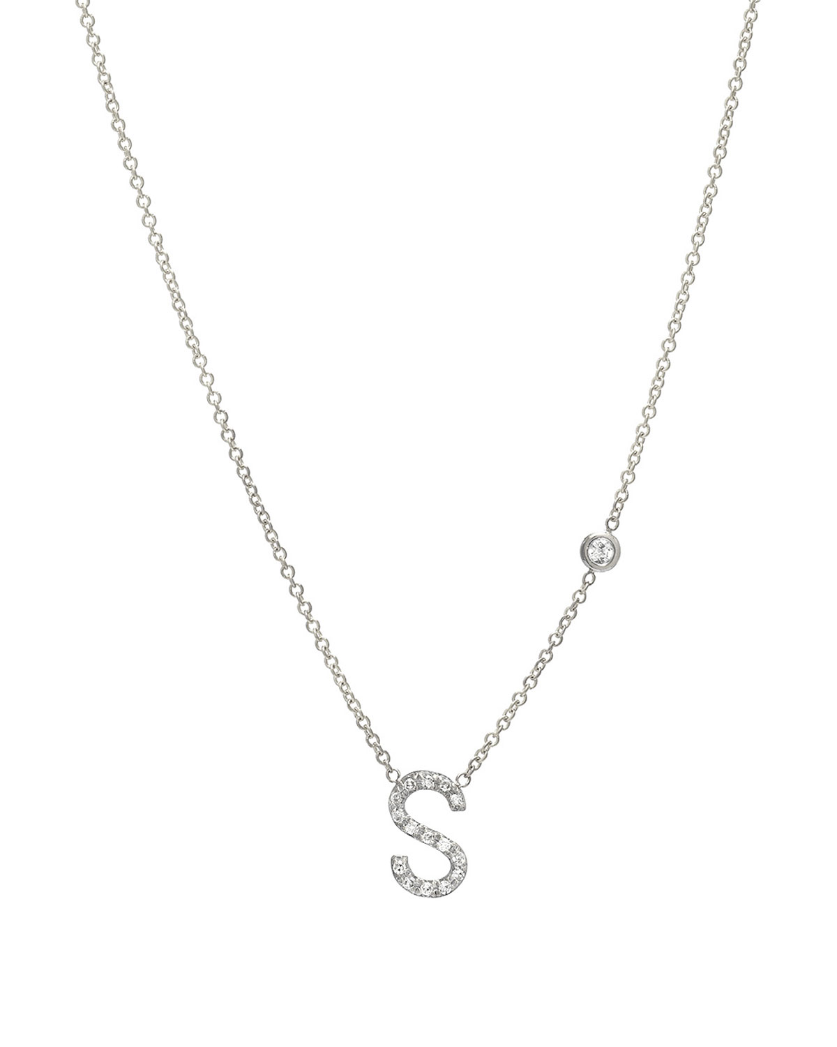b6f057c4372 Personalized Diamond Initial & Bezel Necklace in 14K White Gold