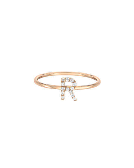 Zoe Lev Jewelry Personalized Diamond Initial Ring in 14K Yellow Gold