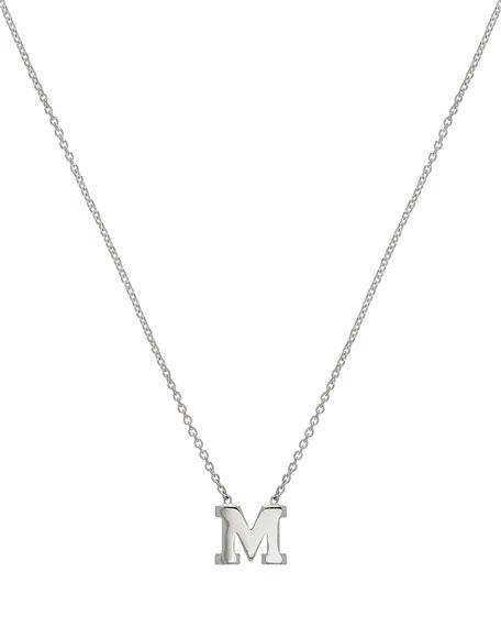 Zoe Lev Jewelry Regin Personalized Initial Pendant Necklace in 14K White Gold