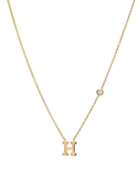 Zoe Lev Jewelry Personalized Initial & Diamond Bezel Necklace in 14K Yellow Gold