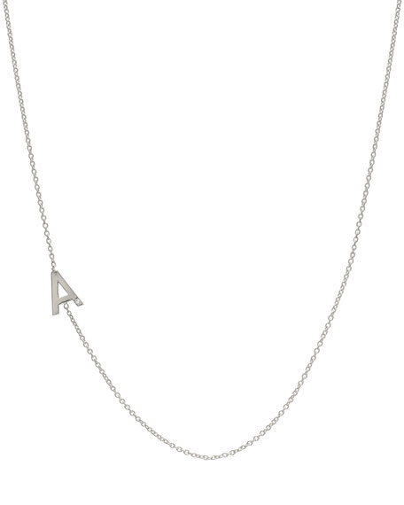 Zoe Lev Jewelry Side Chic Personalized Asymmetric Initial Necklace with Tiny Diamond Detail in 14K White Gold