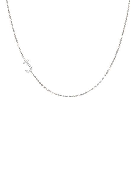 Zoe Lev Jewelry Personalized Asymmetric Diamond Initial Necklace in 14K White Gold