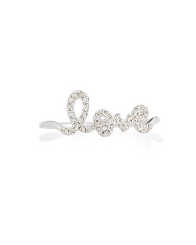 14k White Gold Diamond Love Script Ring, Size 6.5