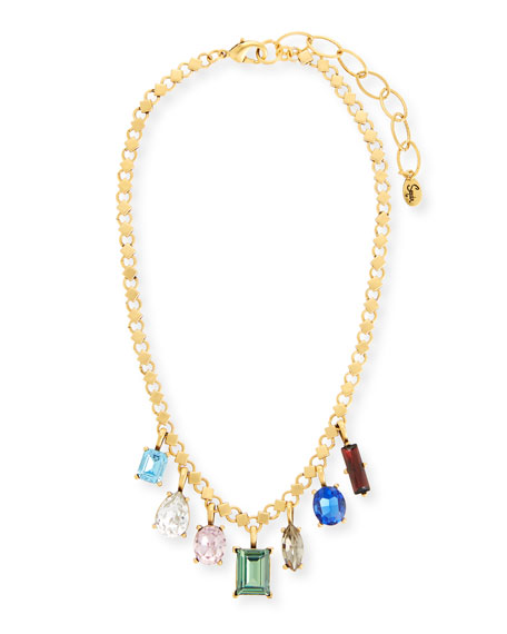 Sequin Multicolor Dangling Crystal Statement Necklace