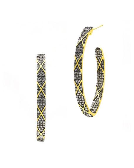 Freida Rothman Signature Pointed CZ Stones  Stripe Hoop Earrings