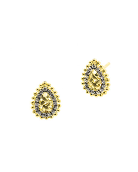 Freida Rothman Lattice Motif Droplet Stud Earrings