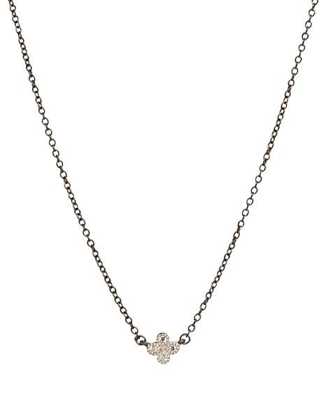 Freida Rothman Mini Clover Necklace w/Black Chain