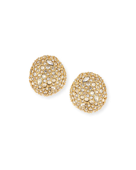 Pave Crystal Pod Button Earrings