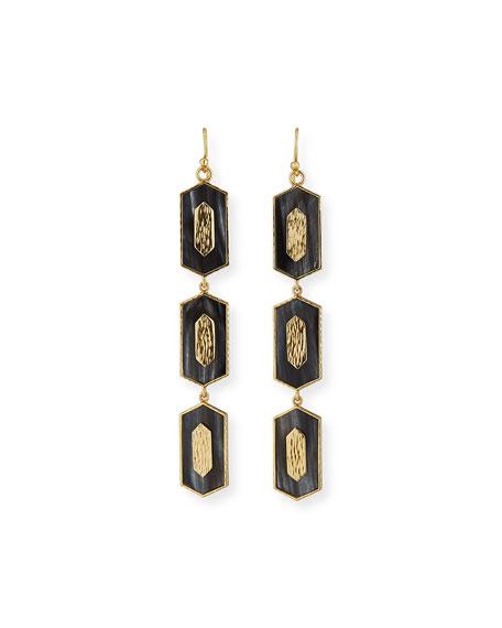 Akola Hexagon Vertical Drop Earrings