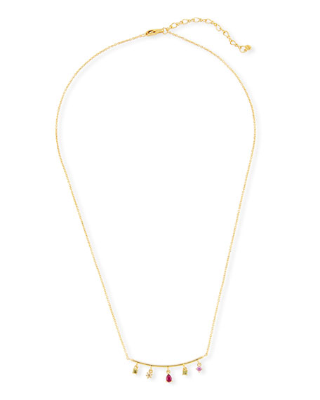 Bar Charm Pendant Necklace, Golden/Pink