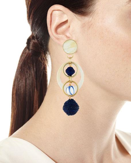 Horn & Raffia Circle Drop Earrings