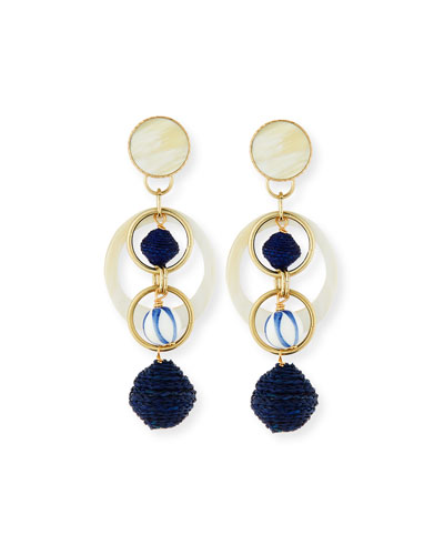 Horn & Raffia Circle Drop Earrings