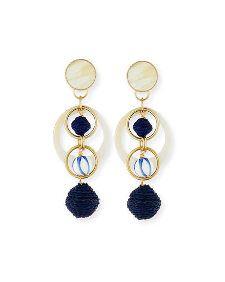 Akola Horn & Raffia Circle Drop Earrings