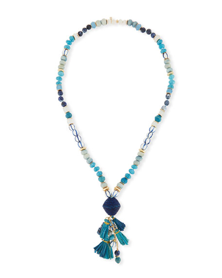 Akola Long Mixed Bead Necklace w/ Multi-Tassel Drop,