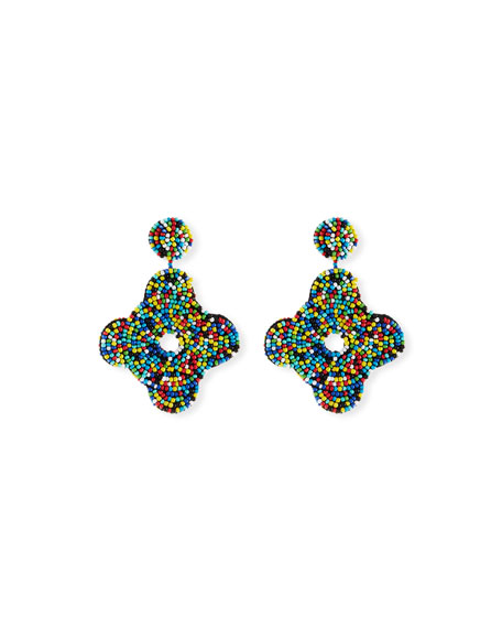 Beaded Geometric Drop Earrings, Multi