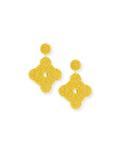 Beaded Geometric Drop Earrings, Yellow